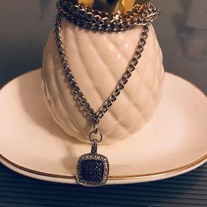 925 Silver chain with square pendant